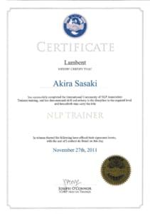 ICNLP NLPトレーナー認定証